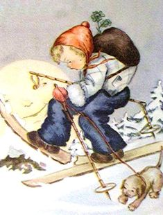 Lucky Charm, Winter Wonderland, Children, Kids, Christmas Cards, Holidays, Illustration, Painting, Cards