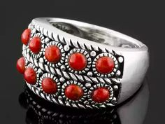 Southwest Style By Jtv(Tm) Round Cabochon Red Coral Sterling Silver Ring