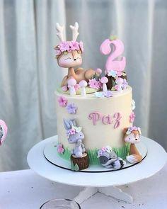 Fairy Birthday Cake, Baby Birthday Cakes, Cake Decorating With Fondant, Birthday Cake Decorating, Baby Reveal Cakes, Charlotte Cake, Woodland Cake, Cake Topper Tutorial, Pink Cake Pops