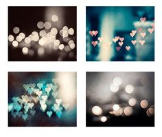 Sparkle Photography Set, bokeh abstract dark brown teal aqua turquoise blue grey gray pink peach hearts sparkly photo circle wall art prints on Etsy, $48.00