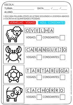 Atividade pronta - Vogais e consoantes Preschool Writing, Professor, Homeschool, Activities, Education, Math, Words, Alice, Facebook