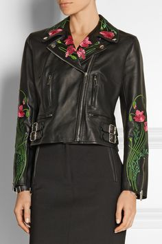 Christopher Kane|Floral-embroidered leather biker jacket|NET-A-PORTER.COM