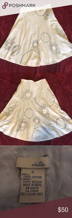 Anthropologie Skirt Anthropologie Skirt. Size 0. It is pail blue with embroidered flowers. Pre-owned in great condition. Measurements in pictures. Comes from smoke free and clean home. Anthropologie Skirts A-Line or Full