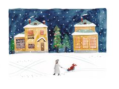 Winter night  Illustration by Toma Kurkova  #illustration #watercolor #postcard
