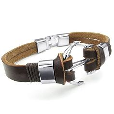 KONOV Mens Womens Leather Bracelet, Anchor Cuff Bangle, Brown Silver *** Learn…