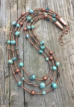 Turquoise necklace, multi strand turquoise beaded necklace with copper accents