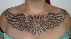 Chest Tattoos For Women – Image Ideas – Tattoos Piercings Chest Tattoo Diamond, Diamond Tattoo Designs, Diamond Tattoos, Tattoo Sleeve Designs, Tattoo Girls, Tattoo You, Girl Tattoos, Wing Neck Tattoo, Clavicle Tattoo