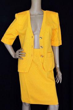 Yves Saint Laurent YSL Vintage Knit Wool Blend Jacket Skirt Suit M Yellow    eBay