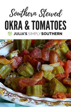 Southern stewed okra and tomatoes is one of the best vegetable combinations. Enjoy this signature classic dish as a side, topped over cooked rice, or as a complete meal with the addition of smoked sausage. Okra And Tomato Recipe, Easy Okra Gumbo Recipe, Okra And Tomatoes, Rotel Tomatoes, Canning Tomatoes, Heirloom Tomatoes, Cooking Recipes, Healthy Recipes, Aloo Recipes