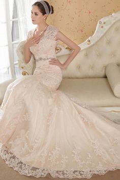 Mermaid Elegant/Modern Court Sleeveless Tulle/Satin Train Beading/Crystals/Appliques/Buttons Pink Zipper Dropped V-neck Wedding Dress V Neck Wedding Dress, Wedding Dresses 2014, Cheap Wedding Dress, Wedding Gowns, Cheap Dress, Wedding Bride, Bridal Outfits, Bridal Dresses, Bridesmaid Dresses