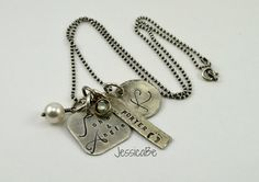 Antiqued Hand Stamped Family Necklace with Crystal by JessicaBe
