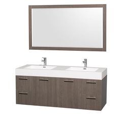 Have to have it. Wyndham Collection WCR410060GOARDB Amare 60-in. Double Bathroom Vanity Set - Gray Oak - $1399 @hayneedle