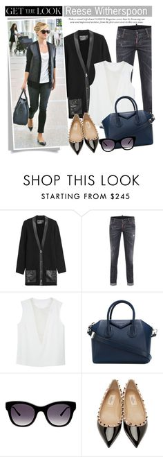 """""""Get the Look: Celebrity Airport Style"""" by mada-malureanu ❤ liked on Polyvore featuring Salvatore Ferragamo, Dsquared2, Joseph, Givenchy, Thierry Lasry and Valentino"""