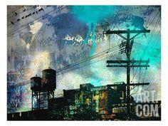 City Scrim B Giclee Print by GI ArtLab at Art.com