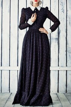 Long Sleeve Tiny Floral Print Maxi Dress