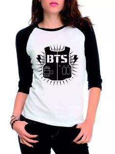 camiseta blusa raglan 3/4 feminina kpop bangtan boys bts top