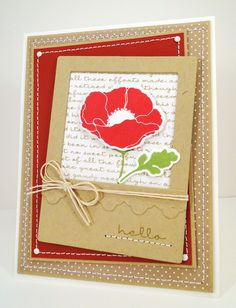 MFT Poppies and Leaves die-cut— framed using the Instaframe Die-namics.   A small piece of Triple Scallop Border was cut from Kraft card stock matching the frame.