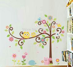 Owl tree flower squirel wallstickers kids bedroom playroom nursery
