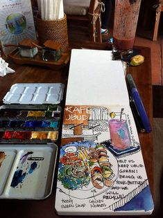 Brunch @ KAFE - - I ordered a special of the day for lunch - Chicken Kebab with BBQ sauce. The ingredients were fresh and taste was simply amazing. Travel Sketchbook, Arte Sketchbook, Sketchbook Pages, Sketch Journal, Artist Journal, Art Journal Pages, Art Journals, Watercolor Journal, Watercolor Art