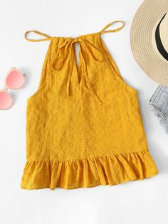 Shop Ruffle Hem Tie Neck Cami Top at ROMWE, discover more fashion styles online. Stylish Dresses For Girls, Toddler Girl Dresses, Little Girl Dresses, Girls Fashion Clothes, Baby Girl Fashion, Kids Fashion, Clothes For Women, Girls Frock Design, Kids Frocks Design