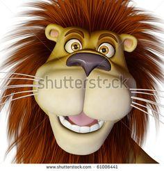 Lion Cartoon Front Face Stock Photo 61006441 : Shutterstock