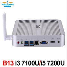Partaker B13 Latest 7th Gen I5 7200U I3 7100U Fanless Desktop Mini PC With VGA HDMI Free Shipping