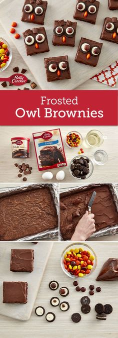 Kids of all ages will get a hoot out of these cute frosted brownies!