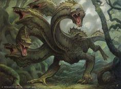 Battle for Zendikar MtG Art. The cards and artwork of Battle for Zendikar, a Magic the Gathering Set. Monster Concept Art, Monster Art, Fantasy Races, High Fantasy, Magical Creatures, Fantasy Creatures, Hydra Mythology, Hydra Monster, Dragons