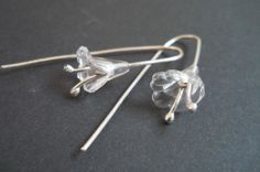 Unique handmade sterling silver and plastic flower earrings Handmade Silver Jewellery, Handmade Sterling Silver, Silver Jewelry, Plastic Flowers, Flower Earrings, Trumpet, Bobby Pins, Hair Accessories, Unique