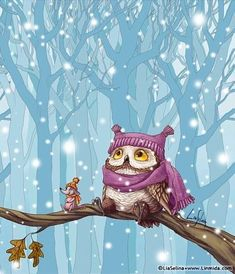 & Owl& First Snow& by Lia Selina Owl Bird, Bird Art, Art Mignon, Whimsical Owl, Owl Pictures, Owl Always Love You, Beautiful Owl, Wise Owl, Cute Illustration