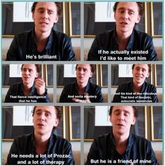 I don't even know if this is accepted by fangirls in general but.... I SHIP TOM AND LOKI!!!!!  Tom would be able to calm Loki down and make him see the beauty of the world. he would teach him how to love life and everything around him... *trembles with sobbing* (didn't write this but thought I leave what the previous pinner wrote)