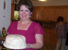"""Nanny's Italian Cream Cake. SOUNDS YUMMY! Don't forget to beat the egg whites """"stiff"""" and also you use 8 oz. of coconut. That's about a half a bag. :)  (for those that don't have canned coconut--like me)"""