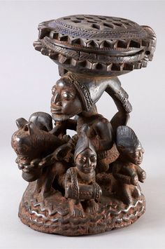 Africa | Lidded vessel ~ 'agere-ifa' from the Yoruba people of Nigeria  | Wood