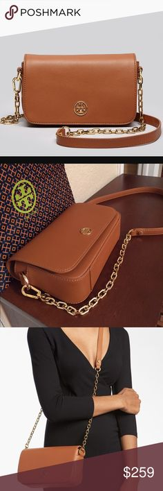 """🆕Tory Burch """"Robinson"""" Leather Crossbody Bag. NWT This beautiful luggage color Saffiano leather Robinson chain mini bag is the perfect addition to your wardrobe. On the outside flap magnetic closure has the classic double-T and on the back has a large slip pocket. Inside has the signature jacquard lining,  zip pocket and plenty of room for your small essentials. The strap is removable and all hardware is in gold. New, never worn with attached tag. Approximate measurements: 8.5"""" L x 6"""" H x…"""