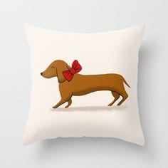 Christmas Present Doggy Throw Pillow