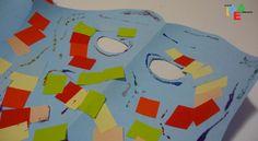 Un allegro collage realizzato con fogli colorati e glitter