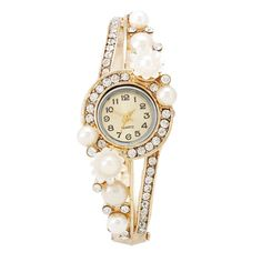Women's Quartz Watch w/ Rhinestone & Faux Pearl