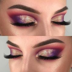 Purple and Gold Shimmery Eye Makeup Idea #EyeMakeupBlue Eye Makeup Tips, Makeup Inspo, Makeup Inspiration, Makeup Trends, Makeup Guide, Makeup Kit, Stunning Makeup, Gorgeous Eyes, Glamorous Makeup