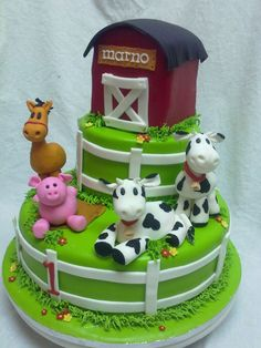 Farm Cake Photo: This Photo was uploaded by laimelady. Find other Farm Cake pictures and photos or upload your own with Photobucket free ima. Cow Cakes, Fondant Cakes, Cupcake Cakes, Farm Animal Cakes, Farm Animals, Animal Birthday Cakes, Farm Cake, Novelty Cakes, Fancy Cakes