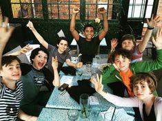Wyatt Oleff, Jeremy Ray Taylor, Jaeden Lieberher, Finn Wolfhard, Sophia Lillis, Jack Grazer, and Chosen Jacobs in Оно (2017)