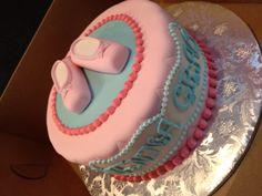 Edible ballet slipper baby shower cake annacakes.com
