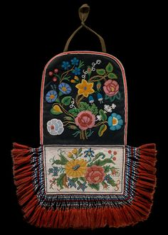 Cree Métis bag, ca. 1875. Manitoba, Canada. Wool cloth, beads, silk; 42 x 35 cm. Mrs. E. C. McDonald Collection. 15/1692