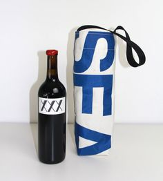 The 17 Knots Last Tango Wine Bags are made from recycled sails that have been sailed around the Northwest and repurposed in Seattle. They are durable