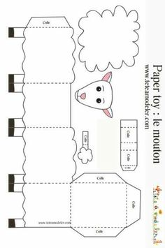 Sheep to print to make a paper toy on - Top Paper Crafts Eid Crafts, Ramadan Crafts, Bible Crafts, Easter Crafts, Bible Activities, Activities For Kids, Cajas Silhouette Cameo, Sheep Template, Preschool Crafts