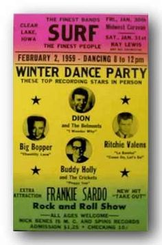 """Poster for the 1959 Winter Dance Party at the Surf Ballroom, featuring Dion and the Belmonts, Ritchie Valens, Buddy Holly, and """"The Big Bopper."""" The fatal crash occured following this performance."""