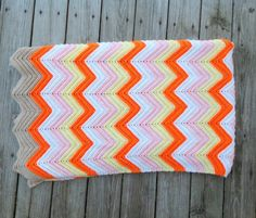 Vintage Zig Zag Crochet Afghan Tangerine Orange Yellow  --  love the bright colours and the brown just at the edge