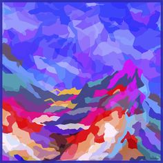 Mountain . Rainbow,  Silk Twill 90 x 90 cm    Fabulous colours....LOVE... story behind inspiration is Bali
