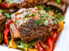 """Short Ribs with Collards and Peppers (The New Frontier) - """"The Pioneer Woman"""", Ree Drummond on the Food Network. Instant Pot Pressure Cooker, Pressure Cooker Recipes, Slow Cooker, Pressure Cooking, Cooking Tips, Cooking Recipes, Cooking Png, Mama Cooking, Cooking Chef"""