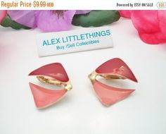 SHOP4FUN Vintage Red Pink Clip On Earrings by ALEXLITTLETHINGS