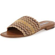 Manolo Blahnik Arcara Tejido plano de sandalias